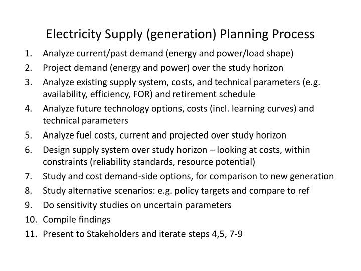 Electricity Supply (generation) Planning Process