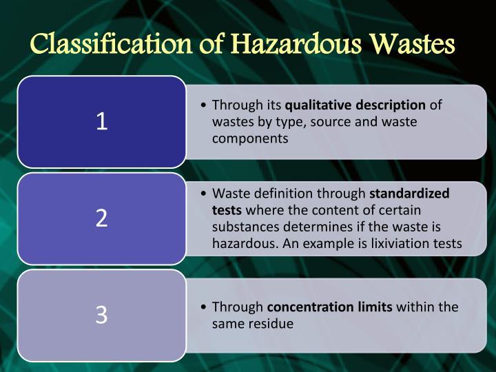 classification of hazardous waste pdf