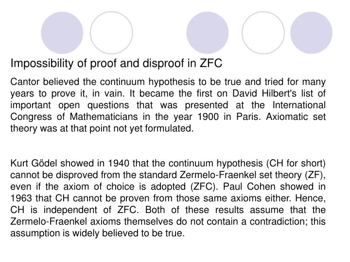 Impossibility of proof and disproof in ZFC