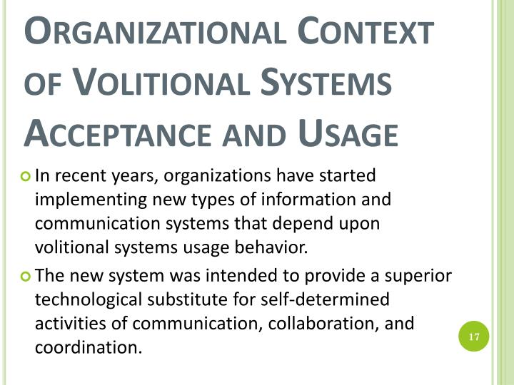 Organizational Context of Volitional