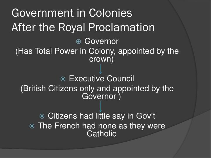 Government in Colonies