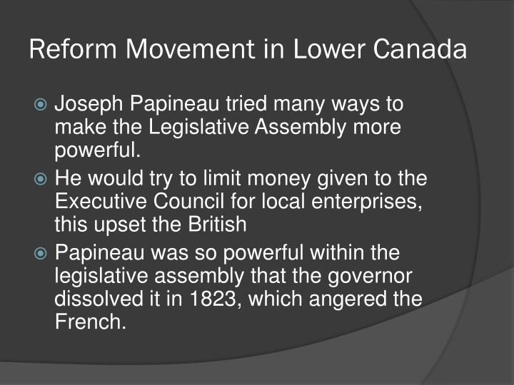 Reform Movement in Lower Canada