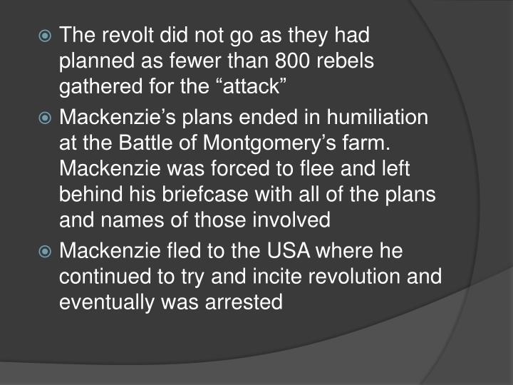 "The revolt did not go as they had planned as fewer than 800 rebels gathered for the ""attack"""