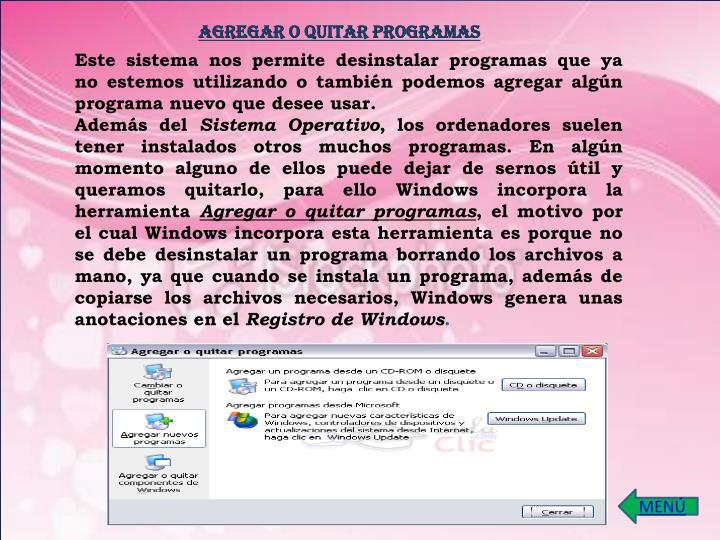 AGREGAR O QUITAR PROGRAMAS