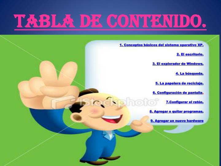 TABLA DE CONTENIDO.