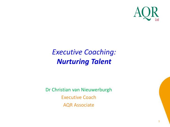 Executive coaching nurturing talent