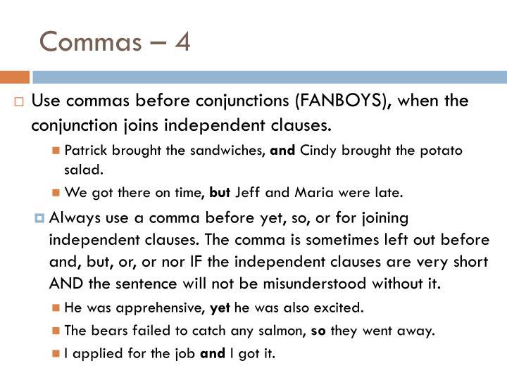 Commas – 4