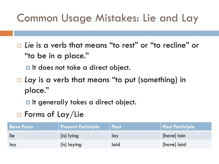 Common Usage Mistakes: Lie and Lay