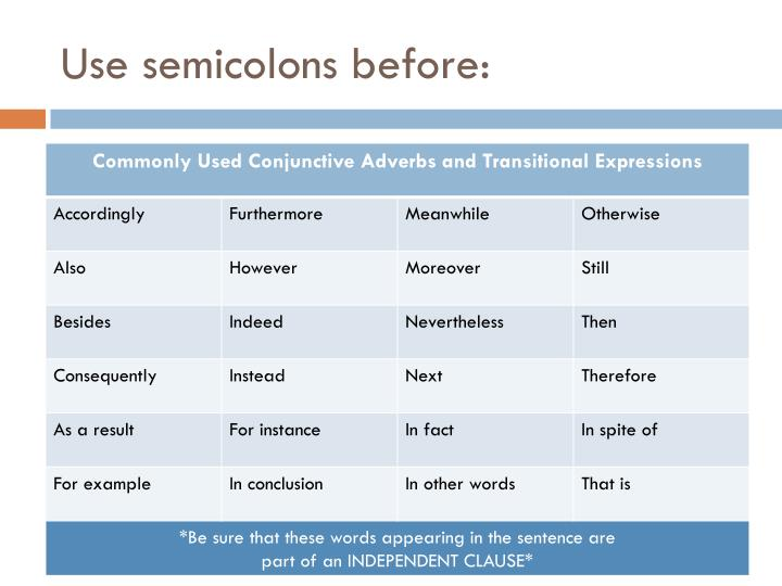 Use semicolons before: