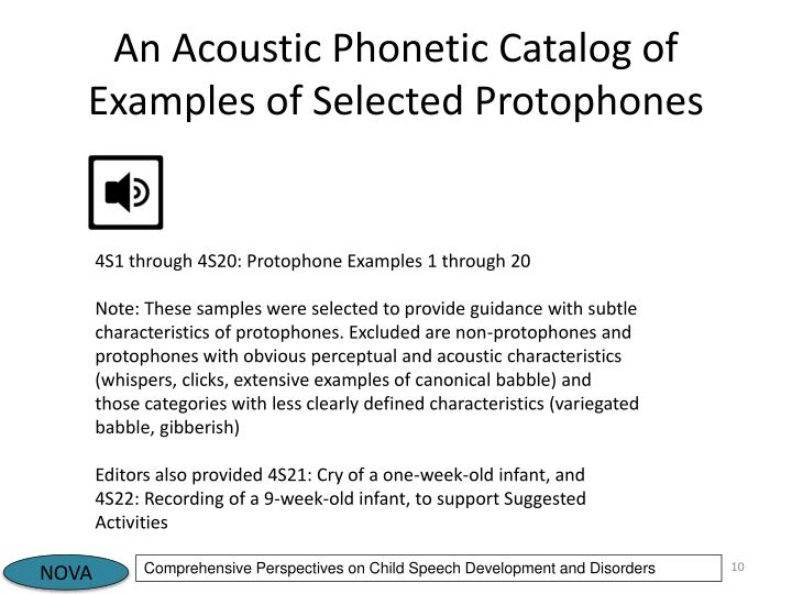 An Acoustic Phonetic Catalog of Examples of Selected