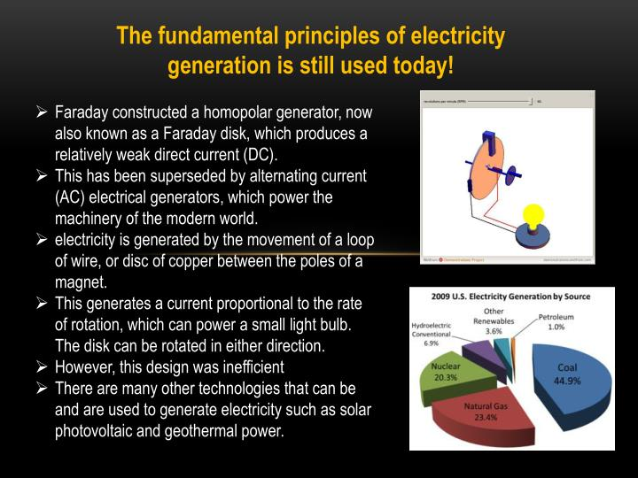 The fundamental principles of electricity generation is still used today!