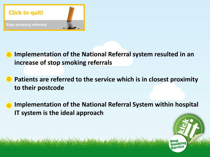 Implementation of the National Referral system resulted in an increase of stop smoking referrals