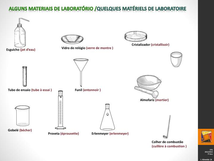 Alguns materiais de laboratório