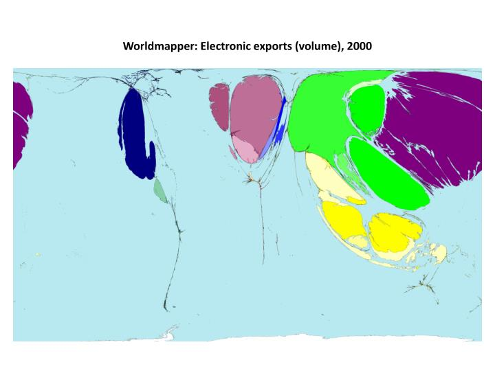 Worldmapper: Electronic exports (volume), 2000