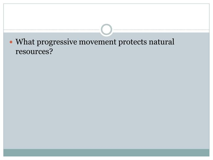 What progressive movement protects natural resources?