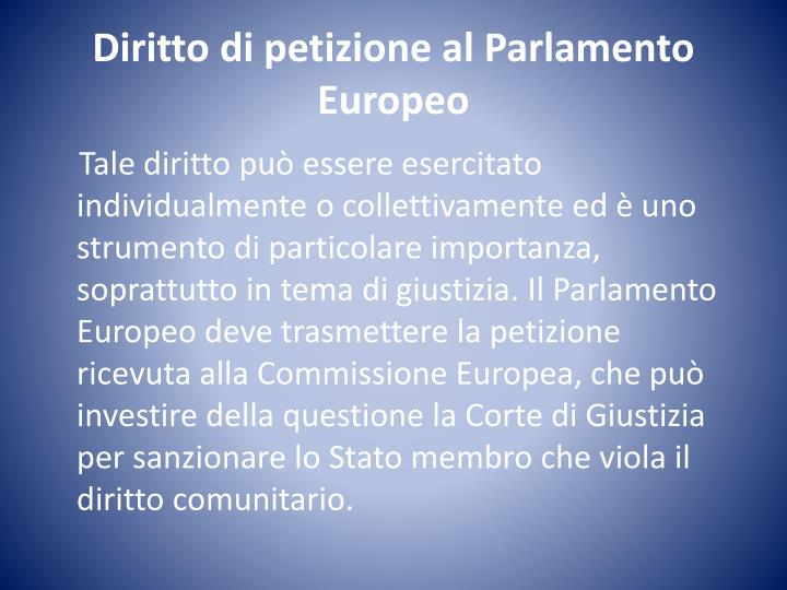 Diritto di petizione al Parlamento Europeo