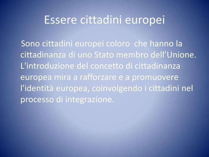 Essere cittadini europei