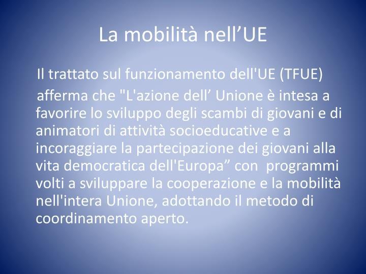 La mobilità nell'UE