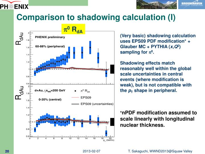 Comparison to shadowing calculation (I)