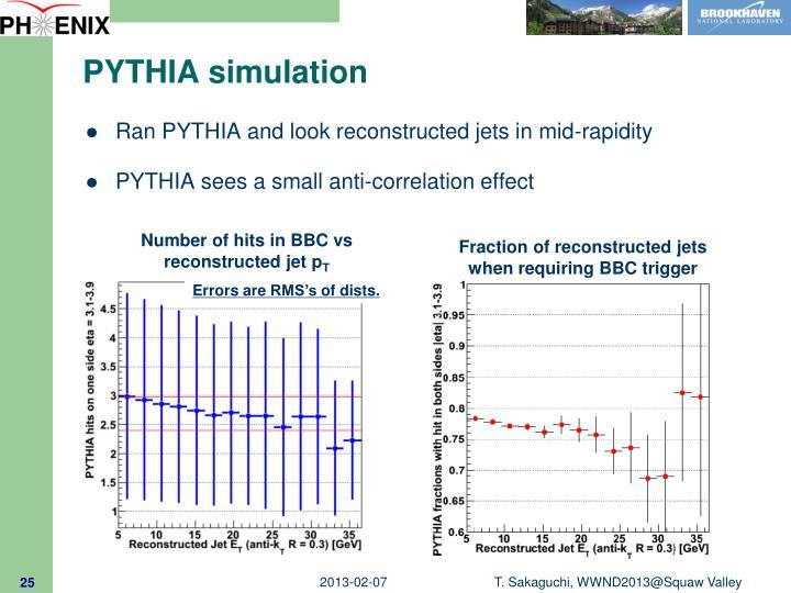 PYTHIA simulation