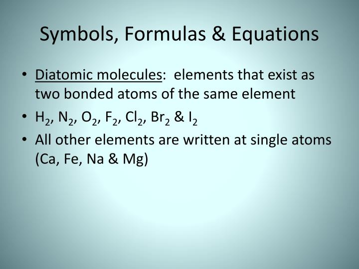 Symbols, Formulas & Equations