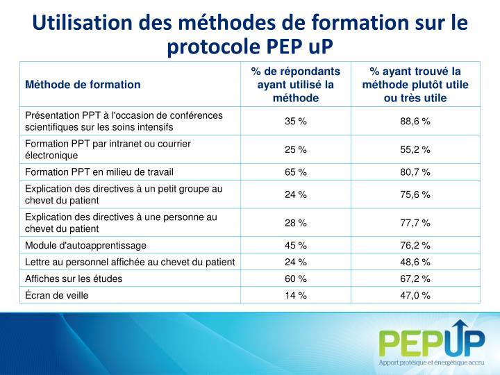 Utilisation des méthodes de formation sur le protocole PEPuP
