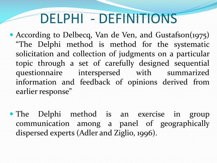 DELPHI  - DEFINITIONS