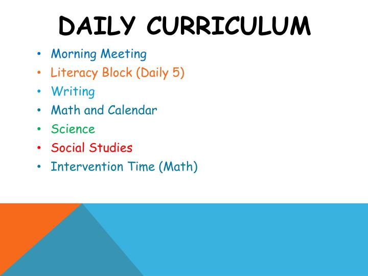 Daily curriculum