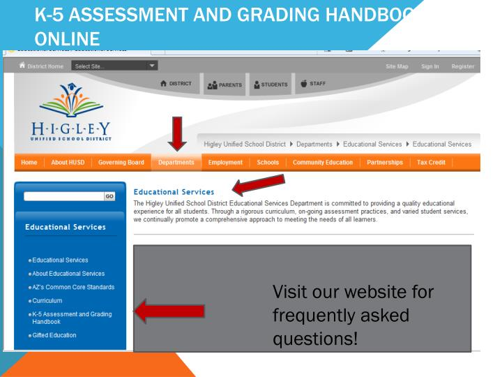 K-5 Assessment and Grading Handbook Online