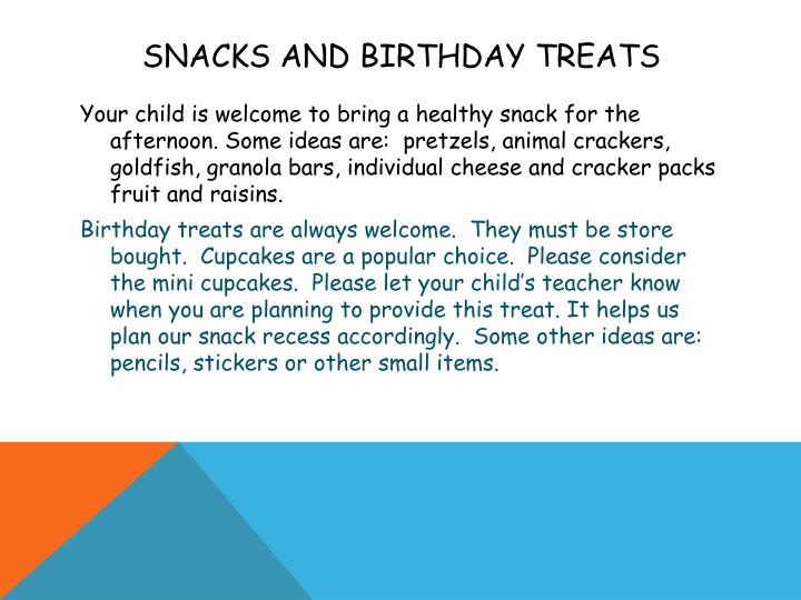 Snacks and Birthday Treats