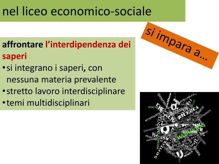 nel liceo economico-sociale
