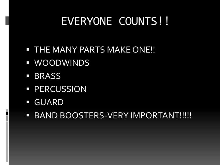 EVERYONE COUNTS!!