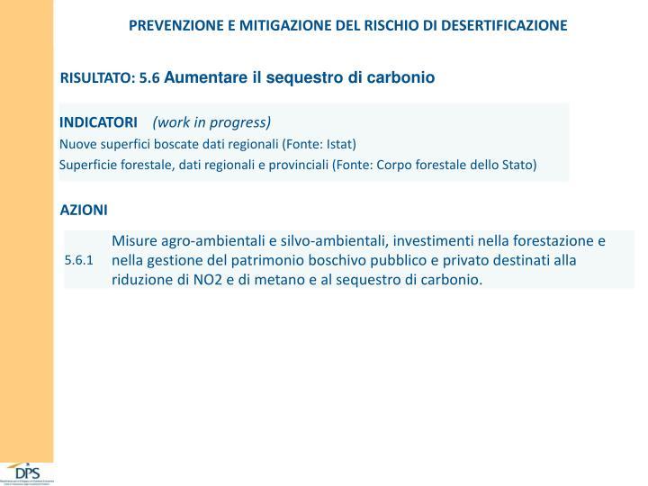 PREVENZIONE E MITIGAZIONE DEL RISCHIO DI DESERTIFICAZIONE