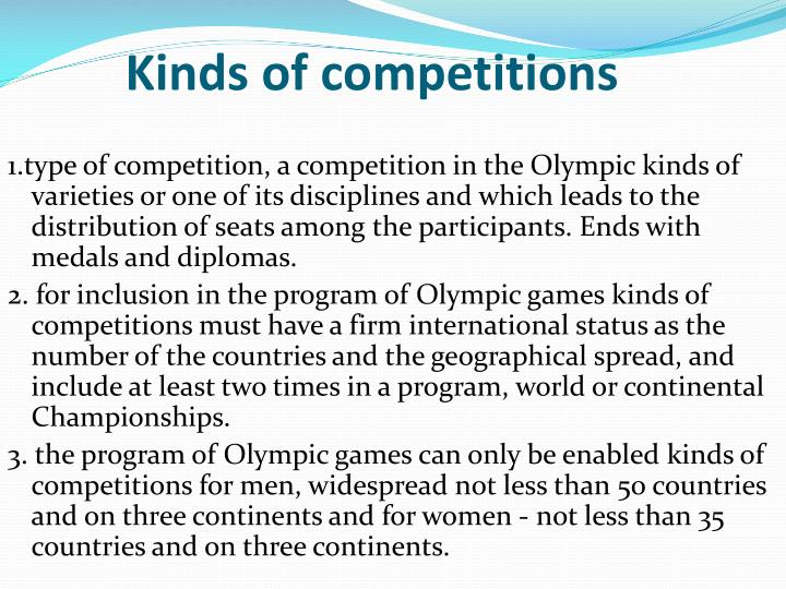 Kinds of competitions