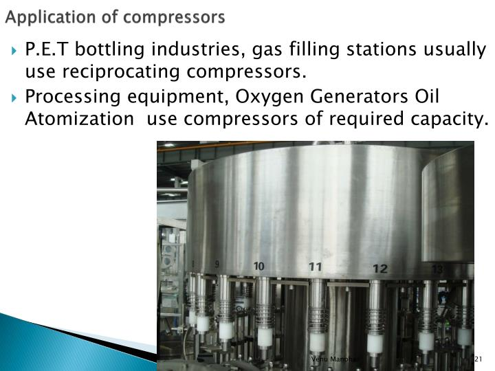 Application of compressors
