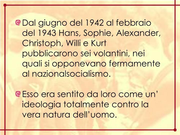 Dal giugno del 1942 al febbraio del 1943 Hans, Sophie, Alexander, Christoph, Willi e Kurt pubblicarono sei volantini, nei quali si opponevano fermamente al nazionalsocialismo.