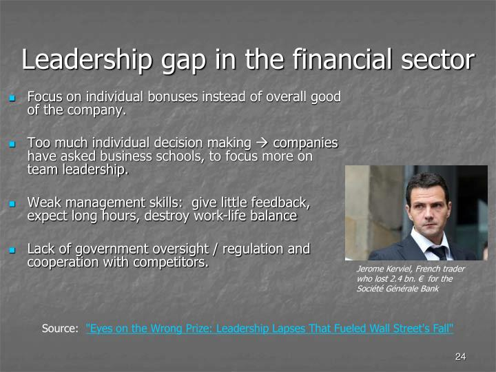 Leadership gap in the financial sector