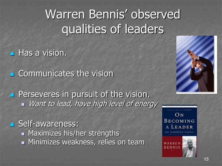 Warren Bennis' observed qualities of leaders