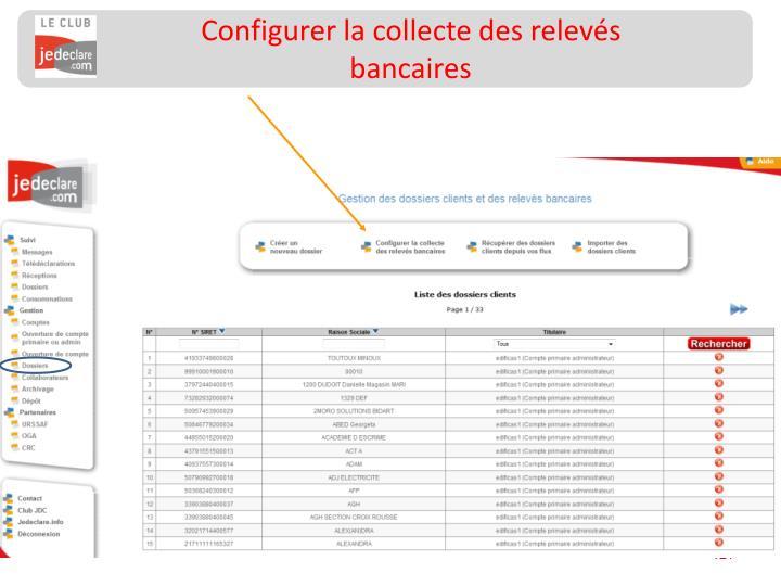 Configurer la collecte des relevés bancaires