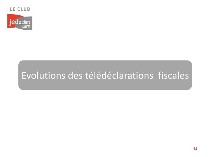 Evolutions des télédéclarations  fiscales