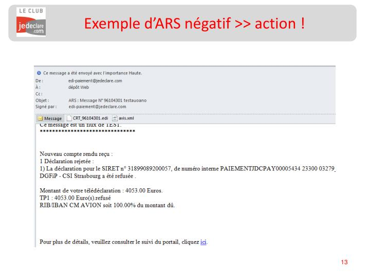 Exemple d'ARS négatif >> action !