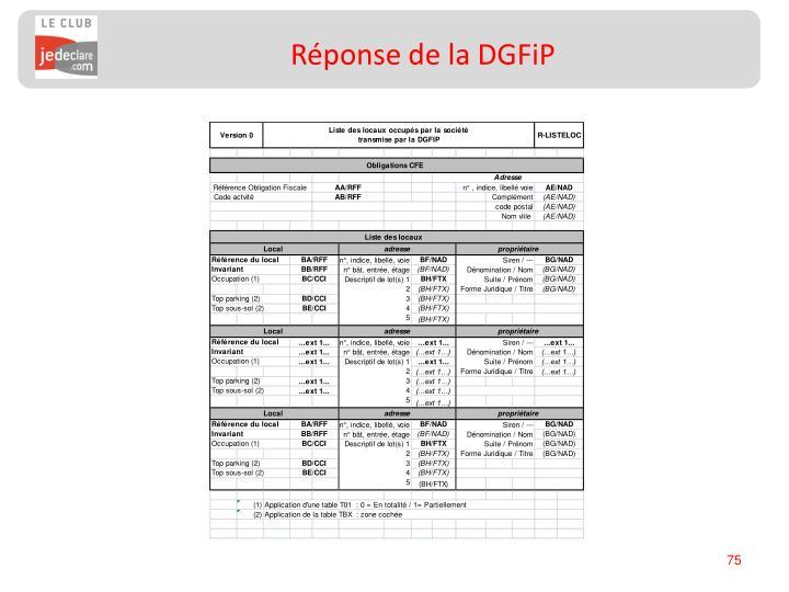 Réponse de la DGFiP
