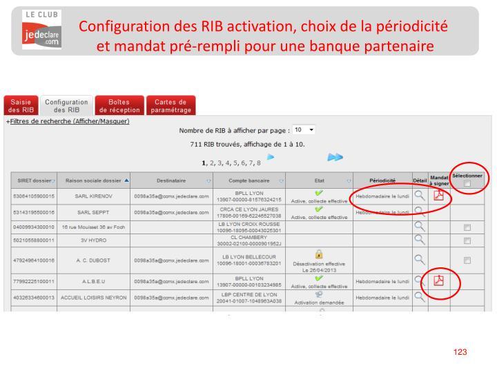 Configuration des RIB activation, choix de la périodicité