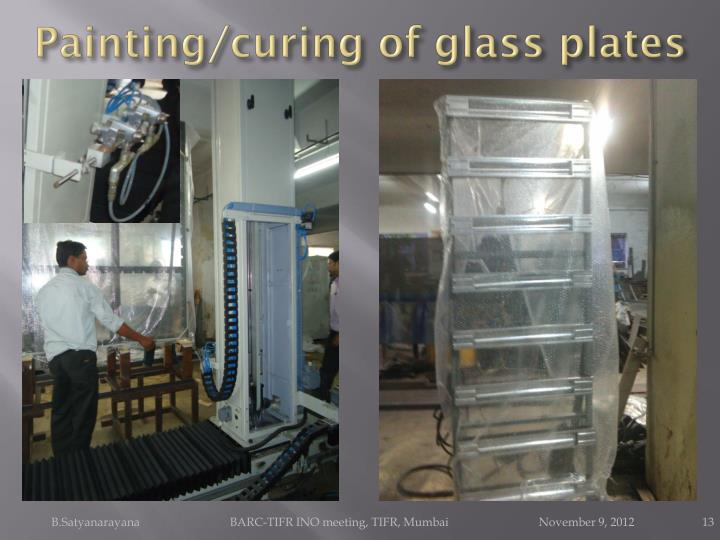 Painting/curing of glass plates