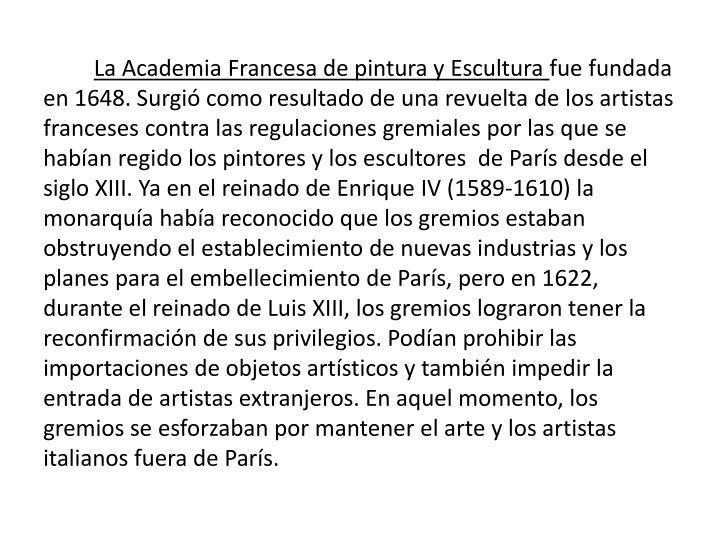 La Academia Francesa de pintura y Escultura
