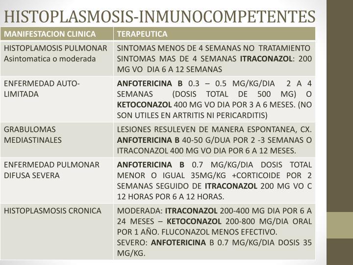 HISTOPLASMOSIS-INMUNOCOMPETENTES