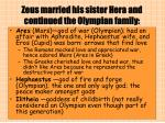 zeus married his sister hera and continued the olympian family
