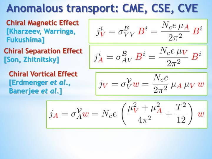 Anomalous transport cme cse cve