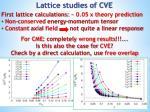 lattice studies of cve1
