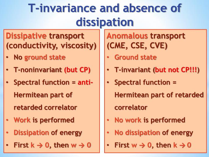 T invariance and absence of dissipation